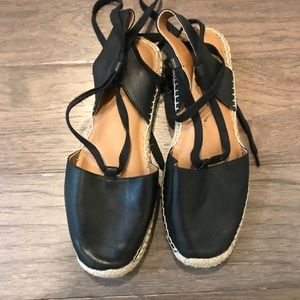 Susina black leather espadrilles